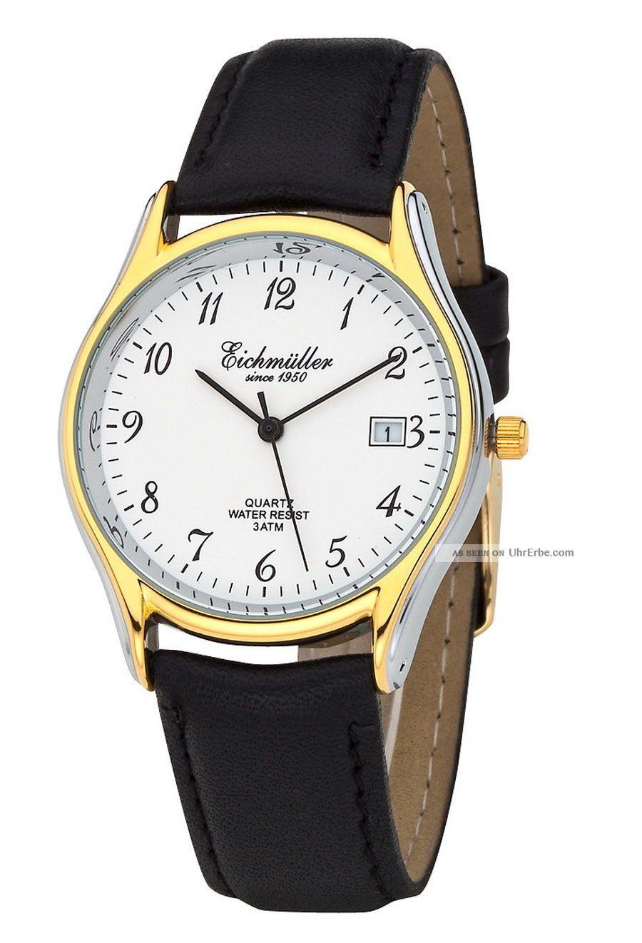 Klassische EichmÜller Uhr Herrenuhr Damenuhr Miyota Quarzuhr Datum - Bicolor Armbanduhren Bild