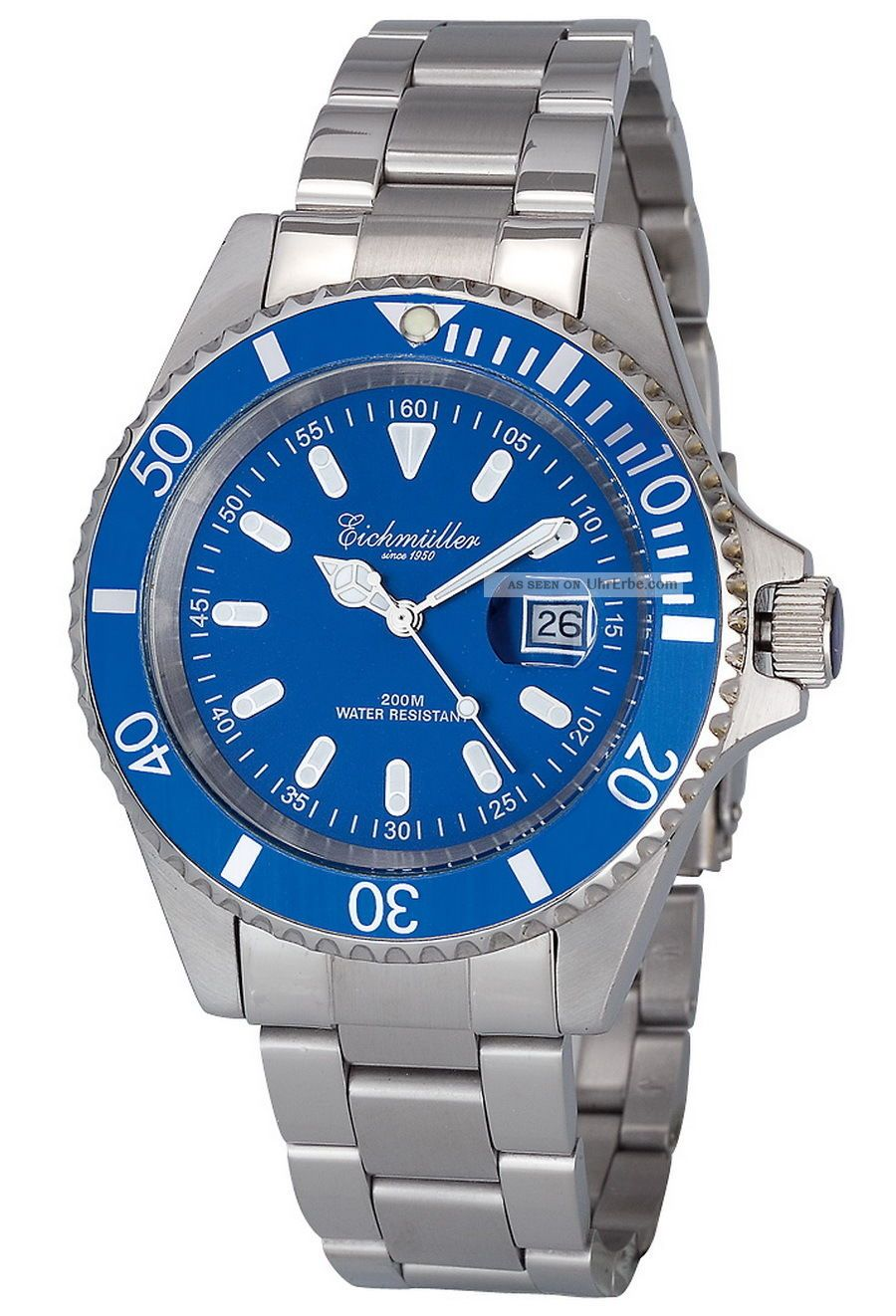 Robuste EichmÜller Uhr Herrenuhr Edelstahl Taucheruhr 20 Atm /200m,  Ovp,  Blau Armbanduhren Bild
