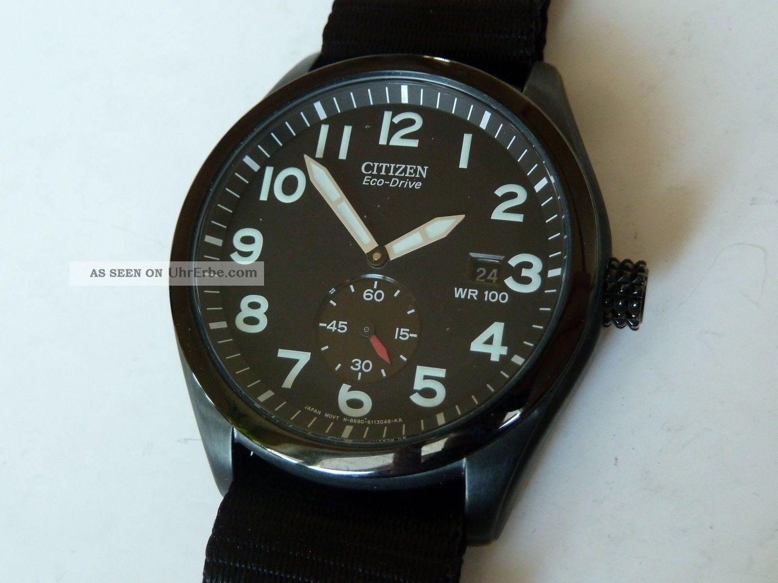 Black Edition Edelstahl Citizen Eco Drive / Solar Analoguhr Armbanduhren Bild
