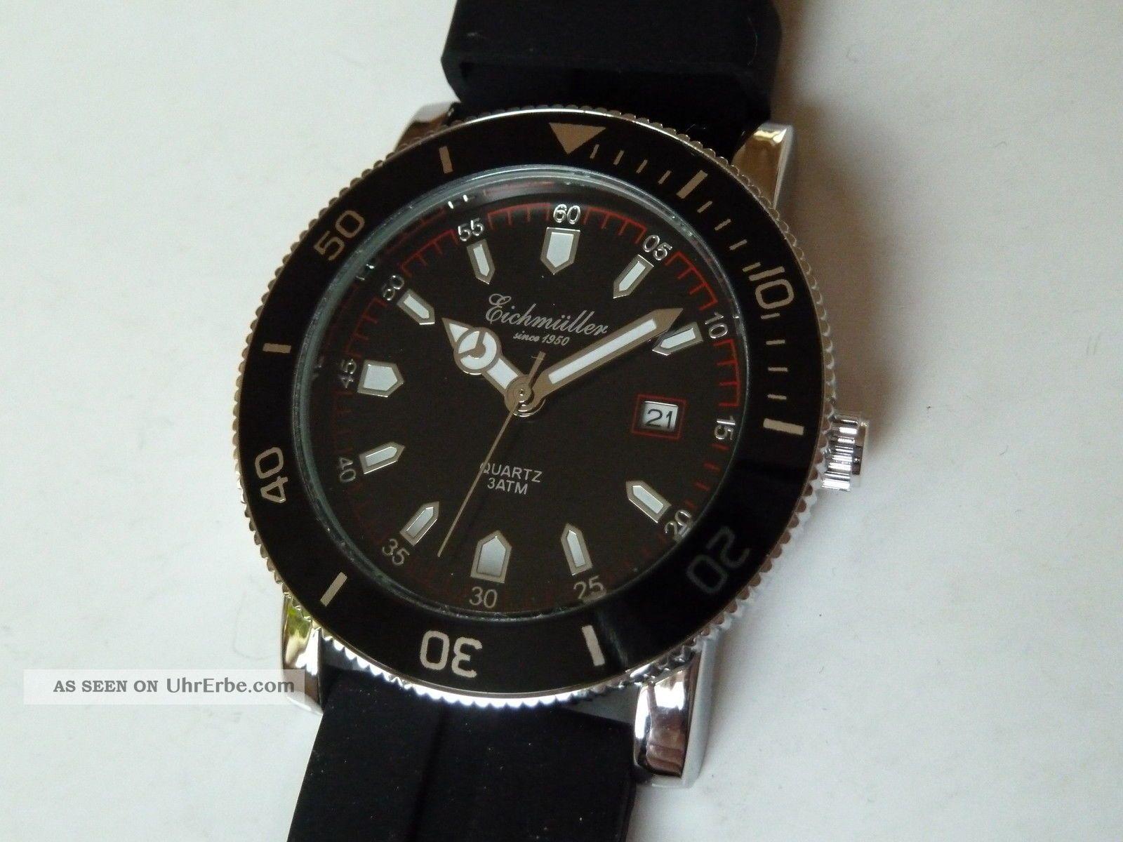 Black Edition Edelstahl Analoguhr Mit Citizen Miyota Werk Von Eichmüller 3bar Armbanduhren Bild