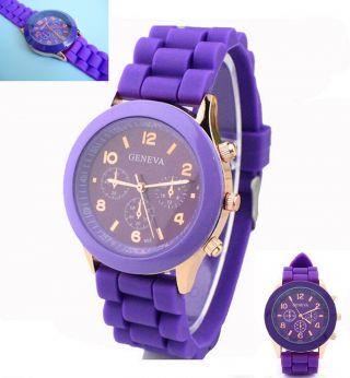 Silikon Armbanduhr Uhr Quarz Lila Unisex Analog Sport Bild