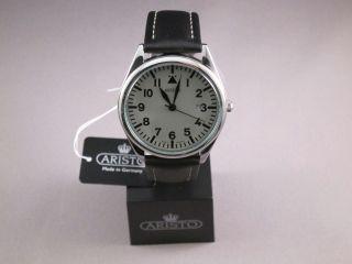 Aristo 4h155,  Klassische Armbanduhr,  Edelstahl,  Poliert,  Lederband,  Quarz Bild