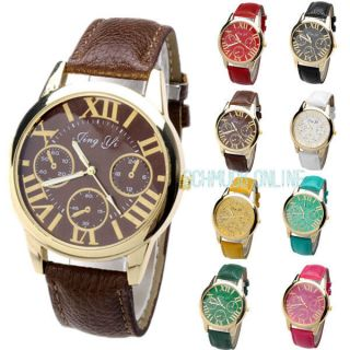 Vintage Rockabilly Genewa Analog Modisch Chrono Leder Armbanduhr Uhr Roma Bild