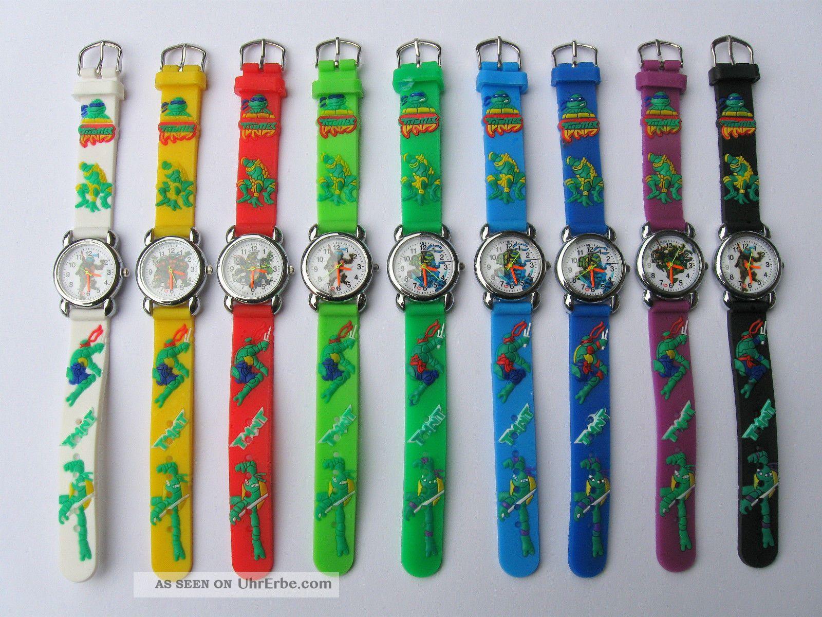 Ninja Turtles Kinderuhr / Lernuhr Zahlen - Zifferblatt 10 Farben Zur Wahl Armbanduhren Bild