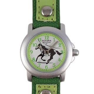 Kinderuhr Grün Weiss Pferd Lederarmband Nylon Armbanduhr Citizen Miyota Werk Bild