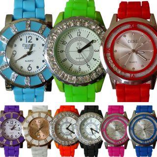 Damen Trend Neon Uhr Silikon Strass Armbanduhr Gummi Damenuhr Sport Strasssteine Bild