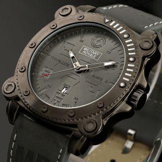 Herren Militär Royal Army Analog Quartz Armbanduhr Leder Armband Bild