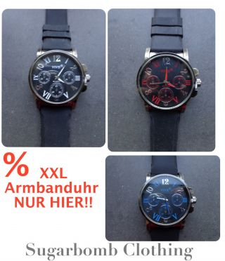 Herren Armbanduhr Schwarz Silikon Xxl Silber Groß Sport Business Uhr Geschenk Bild