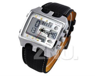Weiss Pu - Leder Herren Uhr Sportuhr Armbanduhr Quarzuhr Sportuhr Watch Bild