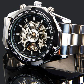 Herren Uhr Automatikuhr Edelstahl Armbanduhr Mechanische Armband Uhr Winner Bild