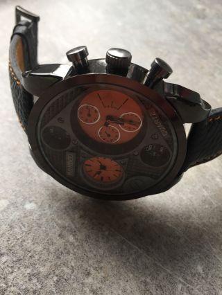 Animoo Xxl Dual Time Uhr Lederband Herrenuhr Mit 2 Quarz Uhrwerken Bild