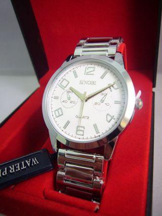 Top Stylische Herrenuhr Silber Edelstahl Uhr Modern Armbanduhr Bild