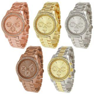 Mode Uhr Chronograf Look Rotgold Metall Armband Boyfriend Kristall Bild