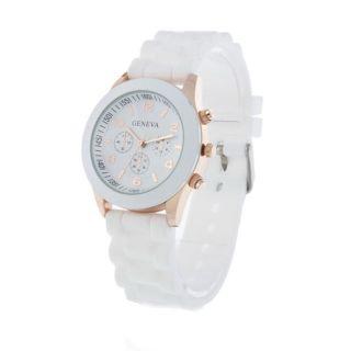 Geneva Silikon Uhr Damen Herren Armbanduhr Gummi Weiß Schwarz Bild
