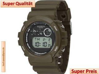 Madison York Digital Armbanduhr Uhr Candy Time Olive Matt Ovp Gummi Mode Bild