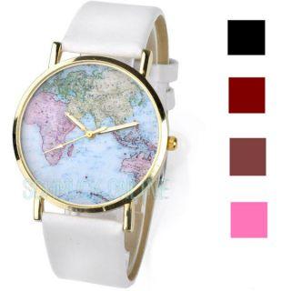 Retro Bunt Weltkarte Herren Damen Armbanduhr Quarzuhr Lederarmband Uhr Geschenk Bild