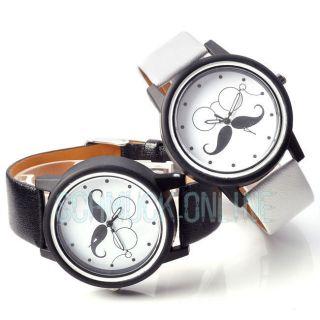 Vintage Weiß Schwarz Damen Herren Armbanduhr Ehepaar Bart Lässig Quarzuhr Watch Bild