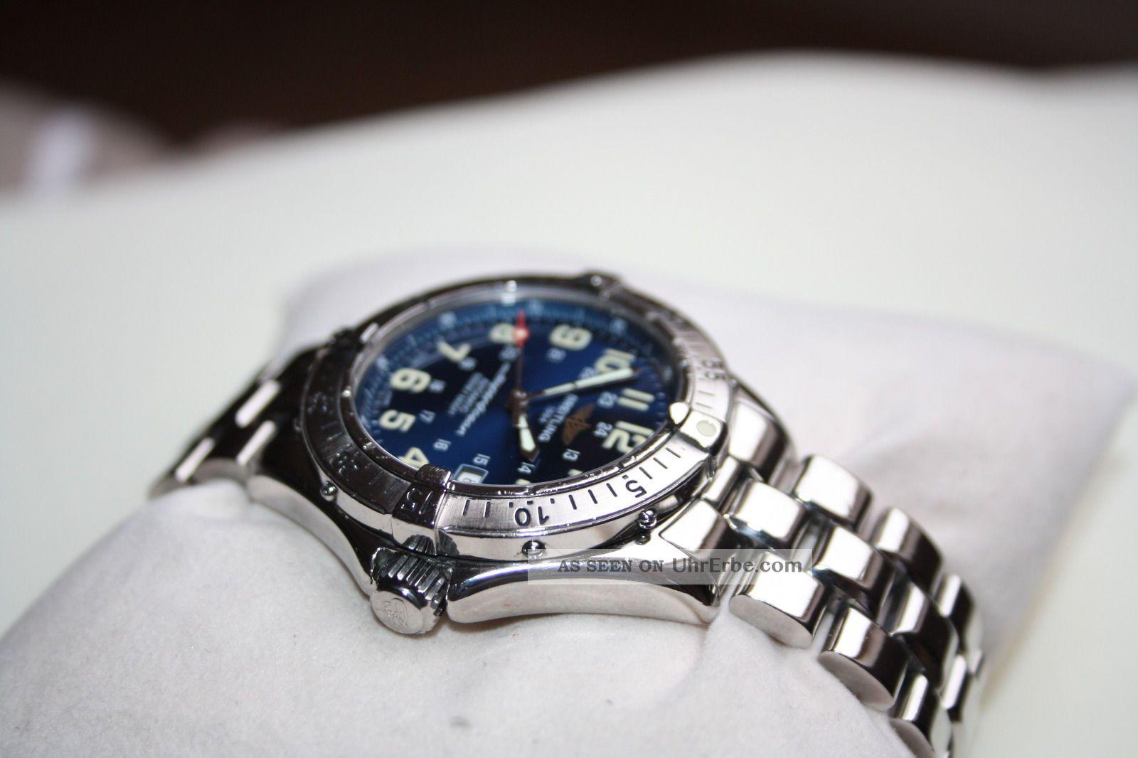 breitling superocean a17040 automatic blaues ziffernblatt edelstahl armband 41mm. Black Bedroom Furniture Sets. Home Design Ideas