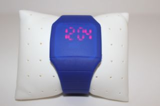 Blau Digital Led Touch Screen Uhr Mit Silikonarmband Blau Bild