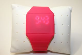 Pink Digital Led Touch Screen Uhr Mit Silikonarmband Pink Bild