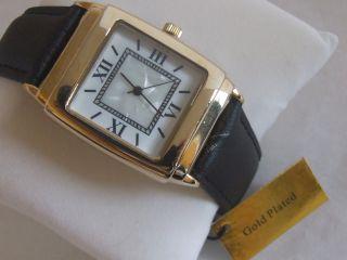 Goldfarbe Italienisches Lederarmband Herren Quartz Perlmutter Uhr Bild