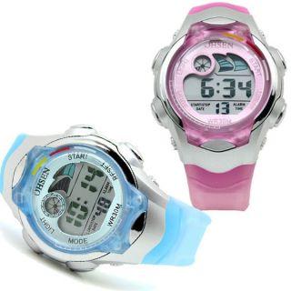 Pink&hellblau Digital Kinder Armbanduhr Taschenuhr Sportuhr Led Lcd Licht Watch Bild