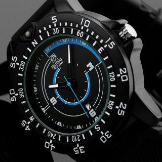 D Fliegeruhr Herren Uhr Schwarz Kautschuk Armband Quarz / Military Royale™ Mr080 Bild