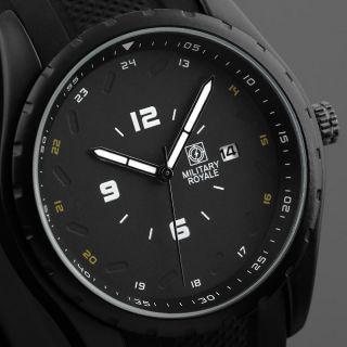 D Fliegeruhr Armband Herren Uhr Schwarz / Military Royale Mr078 Bild