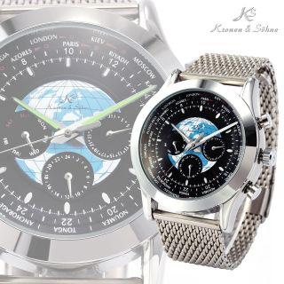 V Ks Herrenuhr Automatikuhr Mechanische Uhr Erde Muster Edelstahl Armbanduhr Bild