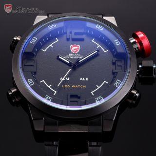 Shark 3d Sportuhr Led Digital Uhr Herrenuhr Alarm Quarzuhr Edelstahl Armband Uhr Bild