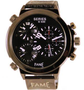 Schwarz Weiße Fame Xxl Three Time Uhr Leder Herrenuhr Bild