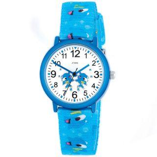 Jobo Kinder - Armbanduhr Hellblau Quarz Analog Mineralglas Mit Fischen Uhr Bild