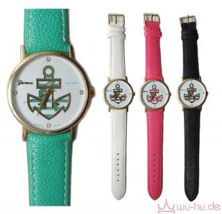♥vintage♥geneva Platinum♥anker♥quarz Armbanduhr♥kunstleder Mit Strass♥ Bild