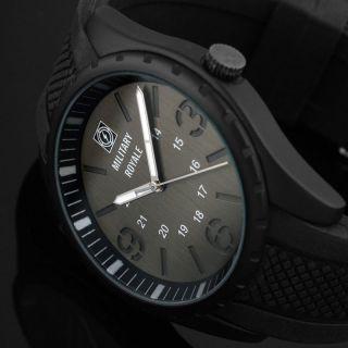 D Fliegeruhr Armband Herren Uhr Schwarz / Military Royale™ Mr073 Bild
