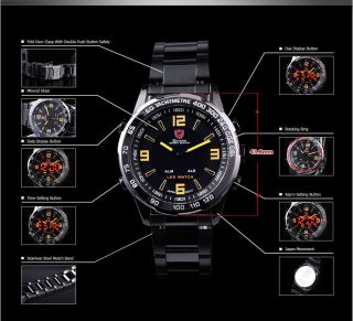 Shark Led Digital Uhr Quarzuhr Herren Sportuhr Nickel Schwarz Armbanduhr Watch Bild