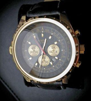Animo Herrenuhr Gold Leder Edel Chrono Optik Datumanzeige Metall Leder Armband Bild