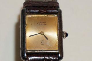 Cartier Herrenuhr / Unisex Vintage - 925er Silber,  Vergoldet,  Handaufzug Bild