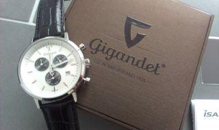 Gigandet Herrenuhr Classico Echt Leder Chronograph Edelstahl Weiß Schwarz Bild