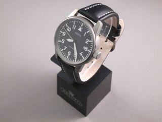 Aristo Uhr 5h68ti,  Titan,  Fliegeruhr,  Automatikwerk,  Datumanzeige,  Lederband Bild