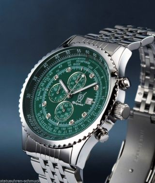 Edelstahl Fliegerchronograph Stoppuhr 8 Echten Diamanten Herrenuhr In Greenblack Bild