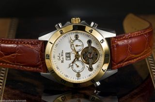 Elegante 44mm Automatik Damenuhr Businessuhr Stahl/gold Lederband Rotbraun Bild
