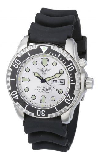 EichmÜller Taucher Uhr Army Watch 1000 M Edelstahl Helium Ventil Seiko,  Silber Bild
