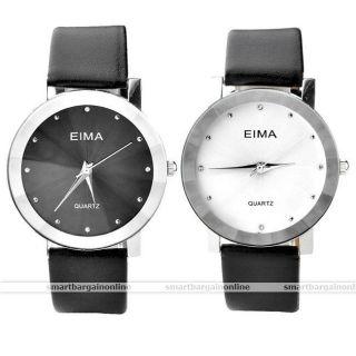Damen/herren Paare Strass Armbanduhr Quartz Quarzuhr Geschenk Schwarz Weiß Bild