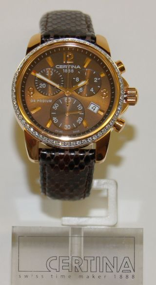 Certina Chronograph,  Serie Podium,  Lady,  Quartz,  Rose Pvd,  Brillantlunette Bild