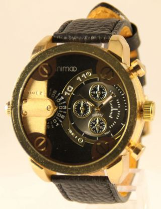 Große Xxxl Armbanduhr Von Animoo Dual Timer Leder Herrenuhr Bild