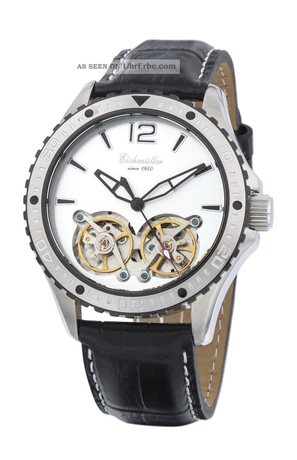 Silberne EichmÜller Automatikuhr 7861 Herrenuhr Business Uhr Doppelte Unruh Armbanduhren Bild