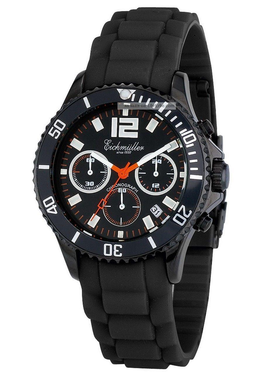 EichmÜller Uhr 6 Zeiger Chronograph Taucheruhr 10 Atm (100m) Edelstahl Armbanduhren Bild