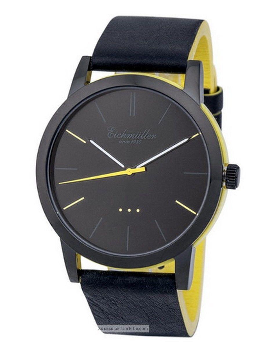 Modische EichmÜller 2 - Farben Design Uhr 4004 Herrenuhr Damenuhr Watch,  Gelb Armbanduhren Bild