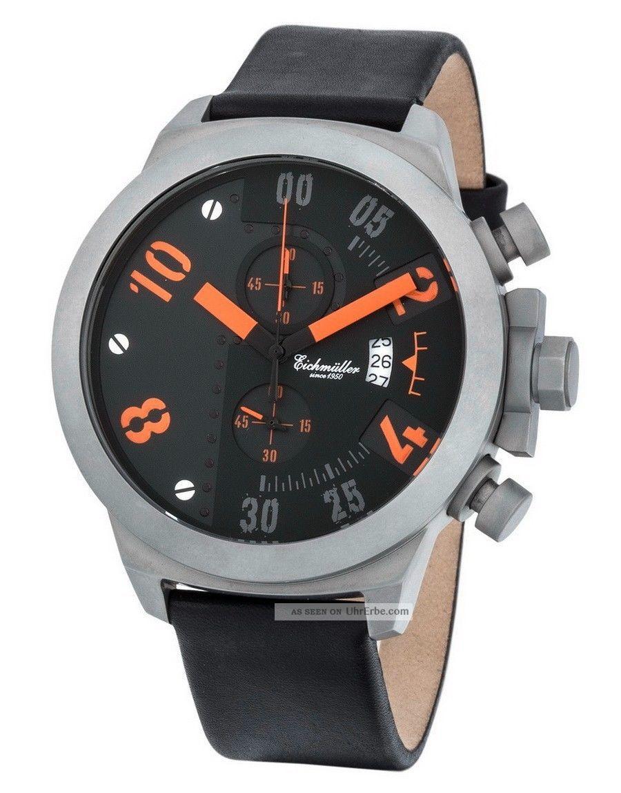 Top EichmÜller Uhr 5435 Edelstahl Herrenuhr Chronograph Miyota Ovp Orange Armbanduhren Bild