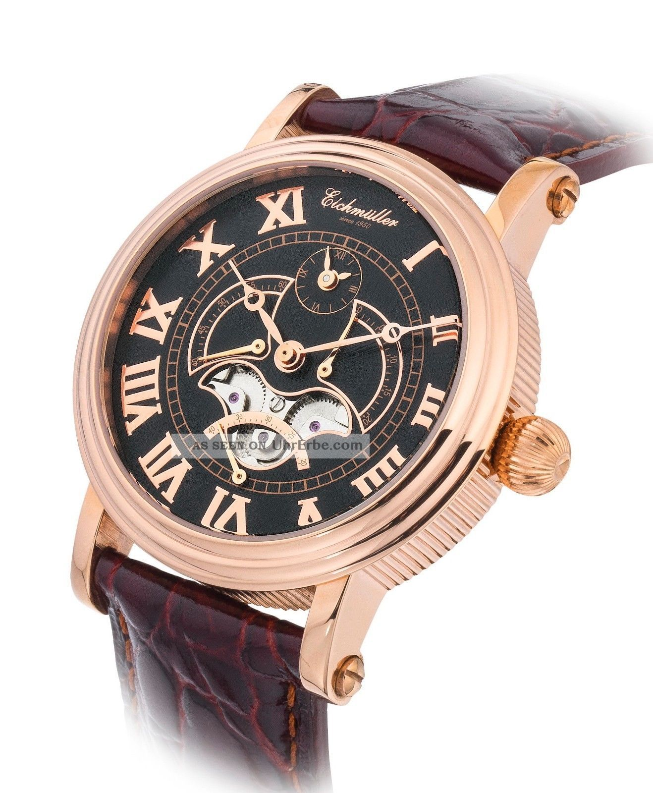 Stilvolle EichmÜller Automatik Uhr Herrenuhr Dualtime Edelstahl Uhr Rose,  Box Armbanduhren Bild